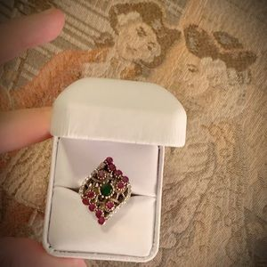Jewelry - Ruby Emerald Solid 925 Sterling Silver Ring Size 8